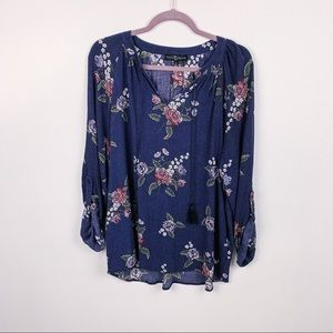 Fred David Long Sleeve Floral Blouse XL